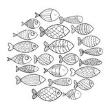 School of fish. A group of stylized fish swimming in a circle. Black and white fish for children with ornaments. Marine. School of fish. Group of stylized fish Stock Image
