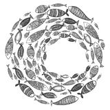 School of fish. A group of stylized fish swimming in a circle. Black and white fish for children with ornaments. Marine. Life. Vector illustration. Logo fishes Stock Images