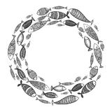 School of fish. A group of stylized fish swimming in a circle. Black and white fish for children with ornaments. Marine. Life. Vector illustration. Logo fishes Royalty Free Stock Images