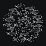 School of fish. A group of stylized fish swimming in a circle. Black and white fish for children with ornaments. Marine. School of fish. Group of stylized fish Stock Photos