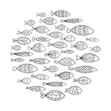 School of fish. A group of stylized fish swimming in a circle. Black and white fish for children with ornaments. Marine. Life. Vector illustration. Logo fishes Royalty Free Stock Image