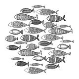 School of fish. A group of stylized fish swimming in a circle. Black and white fish for children with ornaments. Marine. Life. Vector illustration. Logo fishes Royalty Free Stock Photos