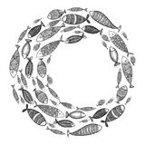 School of fish. A group of stylized fish swimming in a circle. Black and white fish for children with ornaments. Marine. Life. Vector illustration. Logo fishes Royalty Free Stock Photography