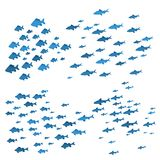 School of Fish Sea Blue Silhouettes. Vector. School of Fish Sea Blue Silhouettes on White Background Underwater Seascape Swimming Movement Nautical Nature Stock Images