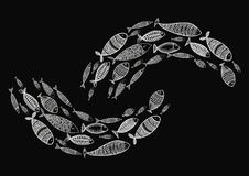 School of fish. Stylized group of stylized fishes swimming in the pack. Decorative aquarium fish with patterns. Tattoo Stock Photos