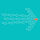 School of fish swimming in shape of arrow. School of cute celadon fish swimming in shape of arrow behind its leader. Concept of success and business achievements Stock Photography