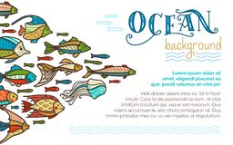 Vector ocean underwater life background. School of fish. Various fish swim together. There is copy space for your text Stock Photos