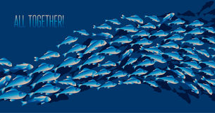 School of fish vector illustration for header, Royalty Free Stock Image