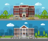 School Flat Banner Stock Photography