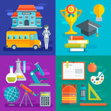 School Flat Compositions. With building bus and teaching staff learning progress scientific disciplines stationery isolated vector illustration Royalty Free Stock Photos
