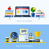 School flat design vector illustration with bookshelf Stock Images