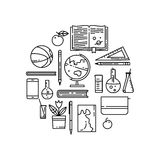 School flat line  icons in round composition. Stock Images