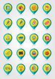 School flat mapping pin icon set Stock Photos