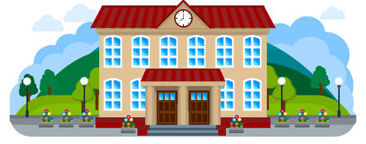 School in a flat style. City street with the School in a flat style Stock Photos