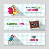 School flat vector banners Royalty Free Stock Images