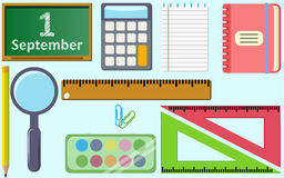 School flat vector design pack with shadow and light Royalty Free Stock Photos