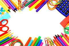 School frame. Colorful frame of school supplies over a white background Stock Images