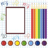 School frame with pencils and paints Stock Image