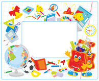 School frame. Vector horizontal frame border with a funny character Schoolbag waving in greeting, a globe and many other school supplies Stock Photos