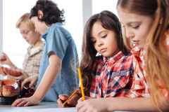School friends studying biology together Royalty Free Stock Photo