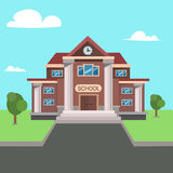 School Front View. Vector Royalty Free Stock Photos
