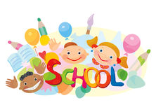School! Fun kids different races. Royalty Free Stock Images