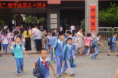 School gate, parents and students Royalty Free Stock Photo