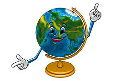 School geographical globe cartoon character Royalty Free Stock Images