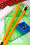 School geometry set. With copybooks, pencils, rubber and sharpener Stock Images