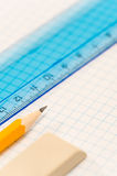 School geometry supplies pencil, rubber and ruler Stock Images