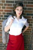 School girl. Classic 50's style picture of a cute brunette Stock Photo