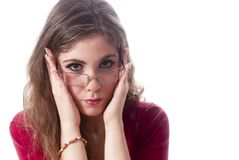 School girl. One school girl with glasses Royalty Free Stock Photo