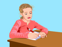 School girl. The schoolgirl writes to writing-books, the written task carries out Royalty Free Illustration