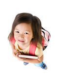 School Girl. A young asian school girl ready for school Royalty Free Stock Images