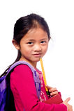 School Girl. A young asian school girl ready for school Royalty Free Stock Image