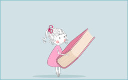School girl. Vector illustration of school girl with giant book Royalty Free Stock Photo