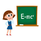 School girl answering at physics lesson. Standing at blackboard, cartoon vector illustration isolated on white background. Girl answering at physics lessons Royalty Free Stock Images