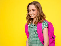 School girl with backpack Royalty Free Stock Photography