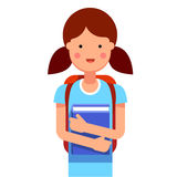 School girl with a backpack holding her book stock illustration