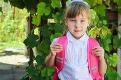 School girl with backpack Stock Photo