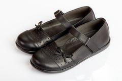 School Girl Black Shoes. On White Background stock photo