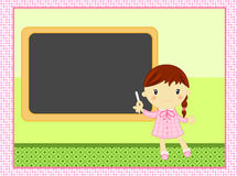 School girl with blackboard. Cute card with smiling school girl wearing her pink pinafore ready to write on the blackboard in primary school Royalty Free Stock Photo