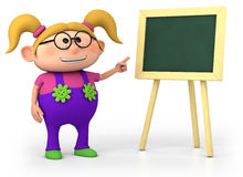 School girl with blackboard. Cute little cartoon school girl with blackboard - high quality 3d illustration Stock Images