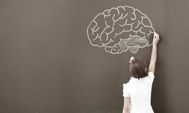 School girl at blackboard. Cute little girl standing with back and drawing on blackboard Stock Photography