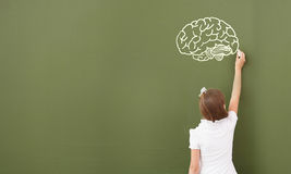 School girl at blackboard. Cute little girl standing with back and drawing on blackboard Royalty Free Stock Image