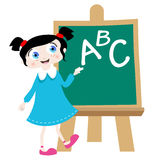 School girl on the blackboard vector Royalty Free Stock Photography