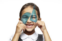 School girl with blue set square and protractor Stock Image
