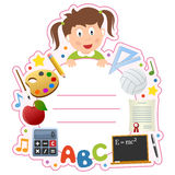 School Girl Book Cover Frame. A school girl book cover frame with school supplies and space for your text. Eps file available royalty free illustration