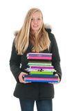 School girl with books Royalty Free Stock Images
