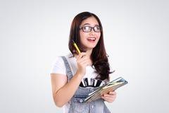 School girl bright idea on white Stock Image